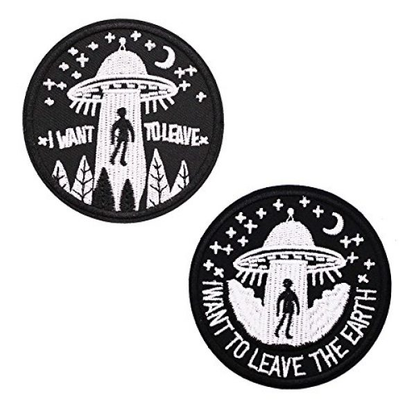 U-Sky Airsoft Morale Patch 3 U-Sky Sew or Iron on Patches - I Want to Leave - Pack of 2 Different Design