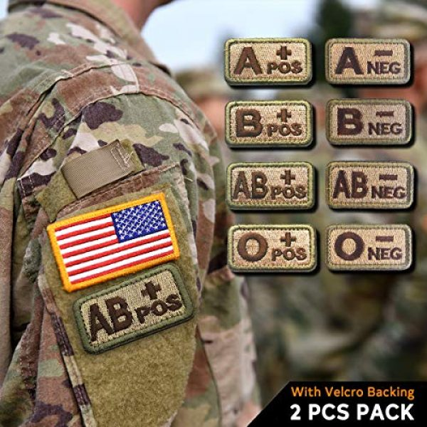 """EJG Airsoft Morale Patch 7 EJG 2-Piece Tactical Blood Type Velcro Patch, Various Styles in Embroidery & PVC, O+ O- Positive Negative, 2""""x1"""" Military Medic Navy Army Morale Patch for Tactical Gear Battle Uniform (Style 03)"""