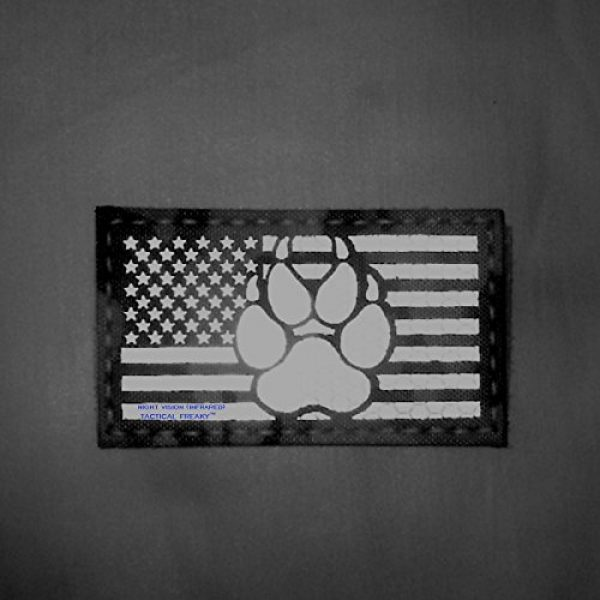 Tactical Freaky Airsoft Morale Patch 2 IR Multicam Infrared USA Flag K9 Dog Handler Paw K-9 Tactical Morale Fastener Patch