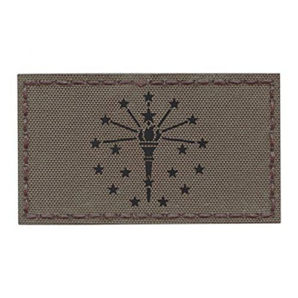Tactical Freaky Airsoft Morale Patch 1 IR Ranger Green Indiana State Flag 2x3.5 Infrared IFF Tactical Morale Hook-and-Loop Patch