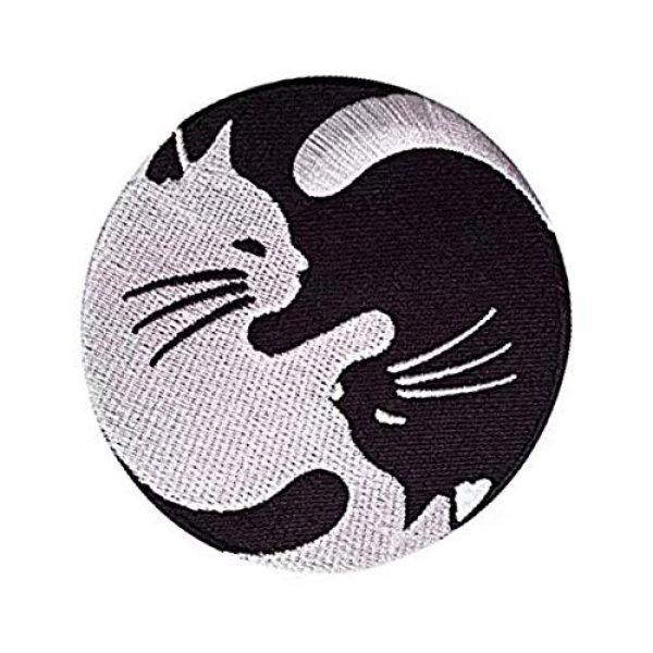 Embroidery Patch Airsoft Morale Patch 2 Cat Yin Yang Kung Fu Chinese Military Hook Loop Tactics Morale Embroidered Patch