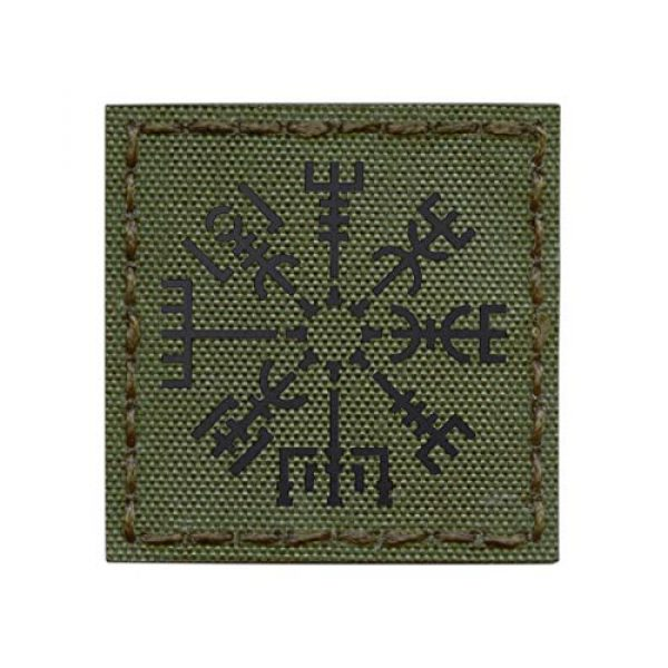 Tactical Freaky Airsoft Morale Patch 1 IR OD Green Vegvisir Viking Norse Heathen 2x2 Olive Drab IFF Tactical Morale Hook&Loop Patch