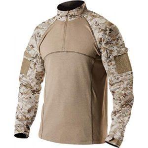 CQR Tactical Shirt 1 Men's Combat Shirt Tactical 1/4 Zip Assault Long Sleeve Military BDU Shirts Camo EDC Top