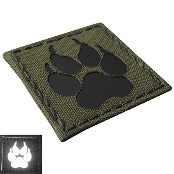 Tactical Freaky Airsoft Morale Patch 3 Olive Drab OD Green Infrared IR K9 Dog Handler Paw K-9 2x2 Tactical Morale Fastener Patch