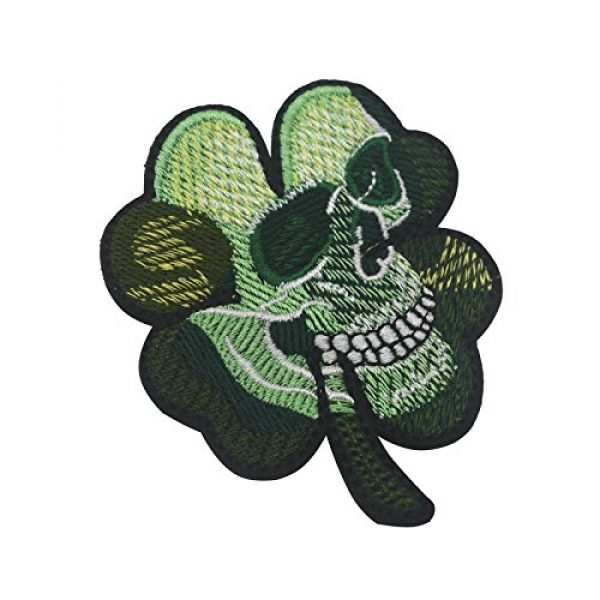 Zhikang68 Airsoft Morale Patch 3 Irish Clover Shamrock Skull Head Biker Tactical Morale Badge Emblem Embroidered Sew On Applique Patch (Green Skull)