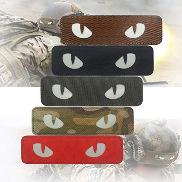 Zhikang68 Airsoft Morale Patch 4 Cat Eyes Morale Reflective Patch Tactical Military Army Embroidered Sew On Motorcycle Biker Tags Operator Hook and Loop Fasteners Emblem for Travel Backpack Hats Jackets Team Uniform (Dark Green)