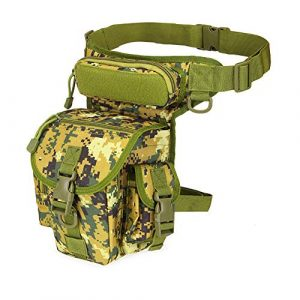 Samxu Tactical Pouch 1 Drop Leg Pouch Outdoor Metal Hunt Detection Multi-Function Bag, Portable Treasure Holder Waist Bag (Jungle Green)