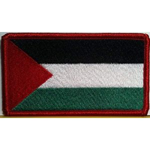 Fast Service Designs Airsoft Morale Patch 1 Palestine Flag Embroidered Patch with Hook & Loop Travel Morale Patriotic Arab Shoulder Emblem Red Version #76