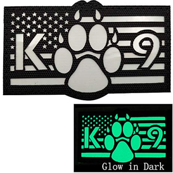 APBVIHL Airsoft Morale Patch 4 Glow in Dark USA Flag K9 Dog Handler Paw K-9 Tactical Morale Fastener Patch, Hook and Loop Backing for Harness Vest, Bundle 2 Pieces, 3.54 x 2.17 Inch