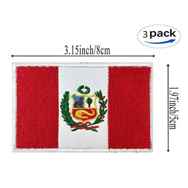 JAVD Airsoft Morale Patch 3 JAVD (3Pack) Country Patch (Peru) Peru Flag Patch Peruvian Flags Patchs, Peru Tactical Flag Embroidery Patch with, for Hats, Tactical Bags, Jackets, Clothes Patch Team Military Patch