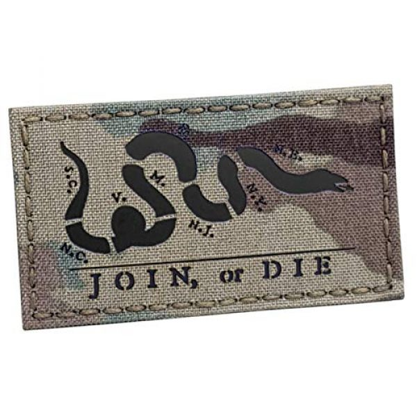 Tactical Freaky Airsoft Morale Patch 1 Multicam IR Join Or Die 2x3.5 Snake Cartoon Benjamin Franklin US Independence Tactical Morale Hook-and-Loop Patch