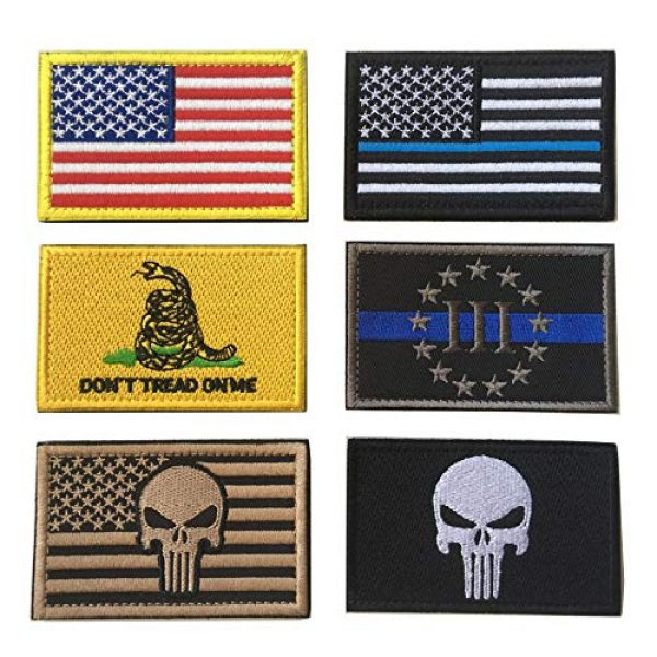 XUNQIAN Airsoft Morale Patch 1 Bundle 6 Pieces Full Color USA American Thin Blue Line Police Flag Three Percenter Tactical Don't Tread On Me Fully Embroidered Morale Tags Patch Set for Caps,Bags,Backpacks (A-6 Pieces Flag)