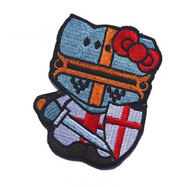 Embroidery Patch Airsoft Morale Patch 3 Hello Kitty Crusader Knight Military Hook Loop Tactics Morale Embroidered Patch