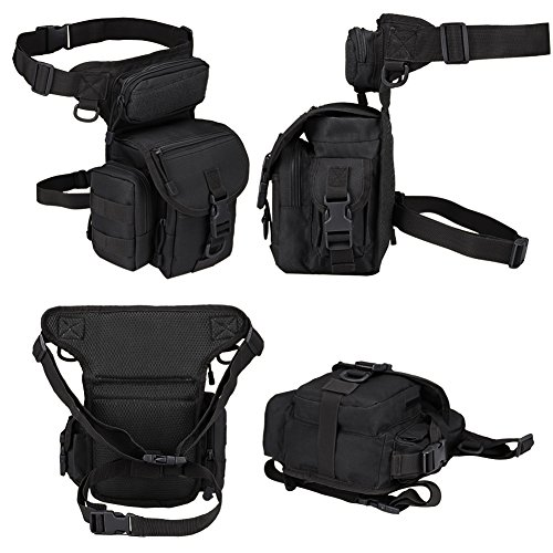 MAXTRA Tactical Pouch 2 MAXTRA Military Tactical Drop Leg Bag Tool Fanny Thigh Pack Leg Rig Utility Pouch Paintball Airsoft Motorcycle Riding Thermite Versipack, Black