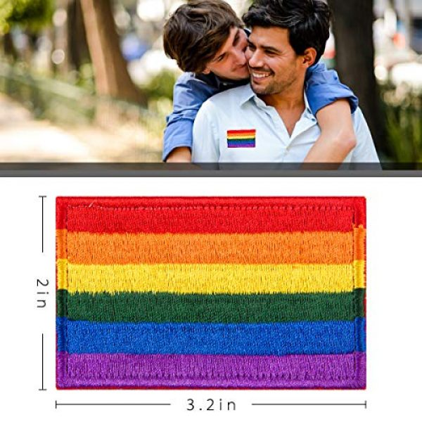 Alphatool Airsoft Morale Patch 2 Alphatool 8pcs LGBT Pride Rainbow Flag Patch- Gay Pride Lesbian Embroidered Iron On/Sew On Appliques Patch Morale Emblem with Hot Glue Design for Hat Cap Polo Backpack Clothing Jacket Shirt