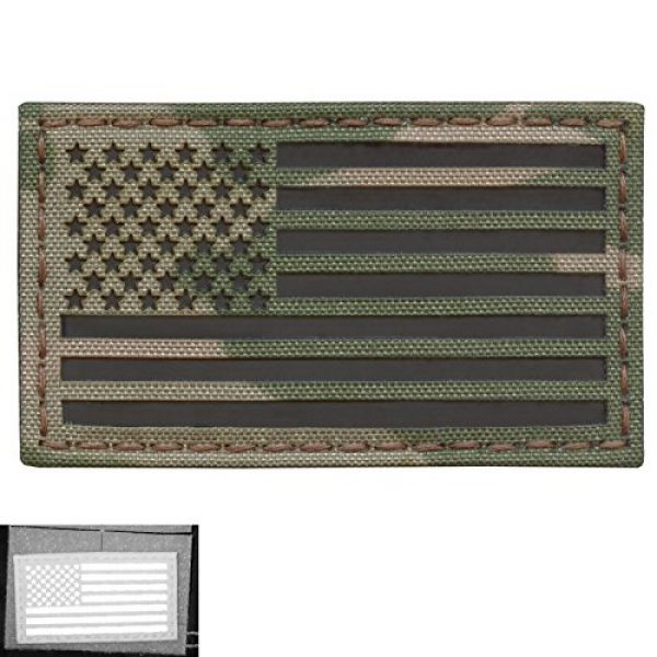 Tactical Freaky Airsoft Morale Patch 5 Multicam Infrared IR USA American Flag 3.5x2 IFF Tactical Morale Hook&Loop Patch