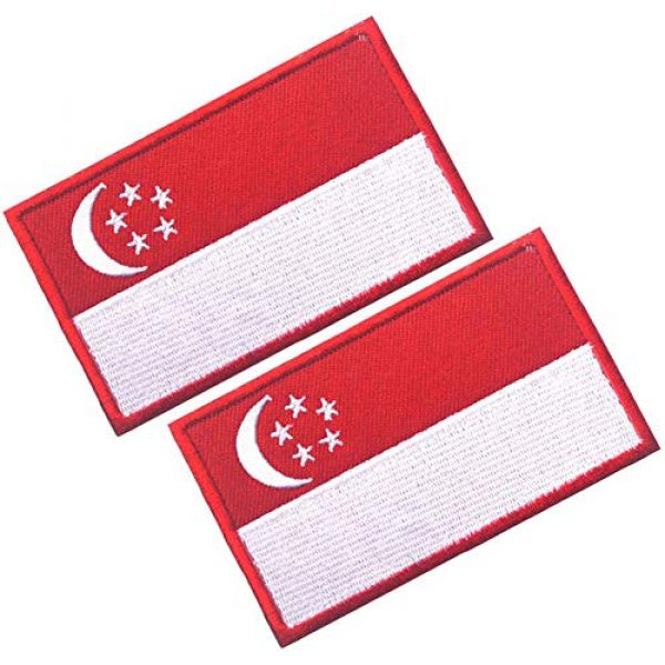 HFDA Airsoft Morale Patch 1 HFDA 2 Piece Different Country Flags Patch - Tactical Combat Military Hook and Loop Badge Embroidered Morale Patch (Singapore)