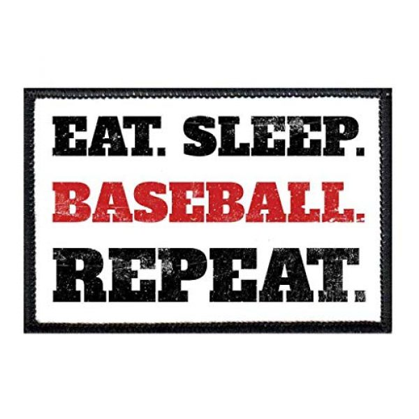 P PULLPATCH Airsoft Morale Patch 1 Eat. Sleep. Baseball. Repeat. Morale Patch   Hook and Loop Attach for Hats, Jeans, Vest, Coat   2x3 in   by Pull Patch