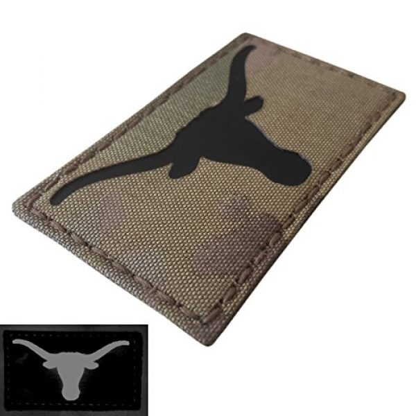 Tactical Freaky Airsoft Morale Patch 4 Texas Longhorn Multicam Infrared IR 3.5x2 IFF Tactical Morale Fastener Patch
