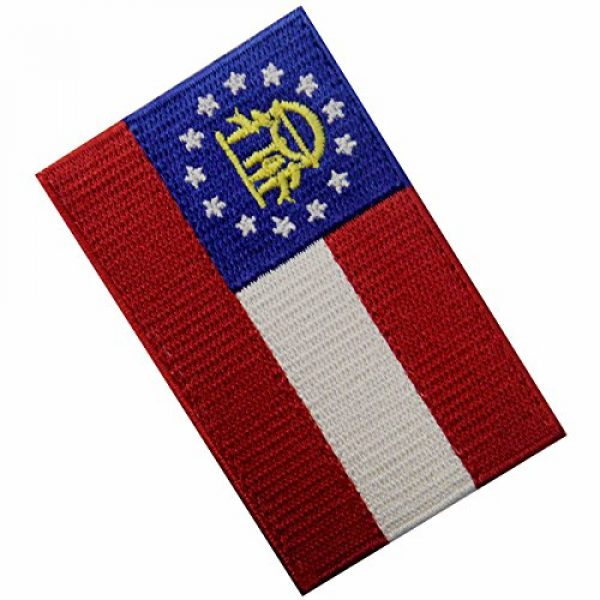 EmbTao Airsoft Morale Patch 4 Georgia State Flag Embroidered Emblem Iron On Sew On GA Patch