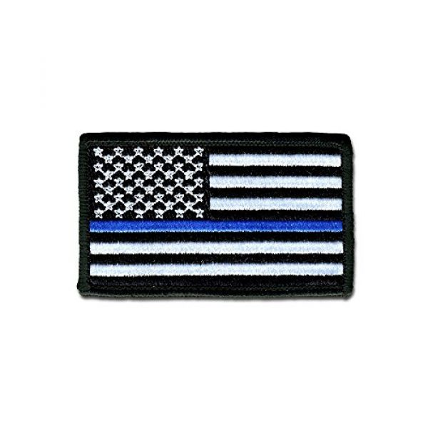 BASTION Airsoft Morale Patch 1 BASTION Morale Patches (USA Flag, Blue Line) | 3D Embroidered Patches with Hook & Loop Fastener Backing | Well-Made Clean Stitching, Military Patches Ideal for Tactical Bag, Hats & Vest