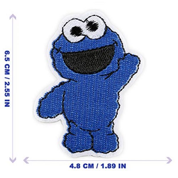 DOHAOOE Airsoft Morale Patch 2 Sesame Street Patch 1 Piece Cookie Monster Sew On/Iron On Patches for Jackets Backpacks Clothes Jeans Denim Hat Exquisite Embroidered Cartoon Applique DIY Decorations(Cookie Monster 2)
