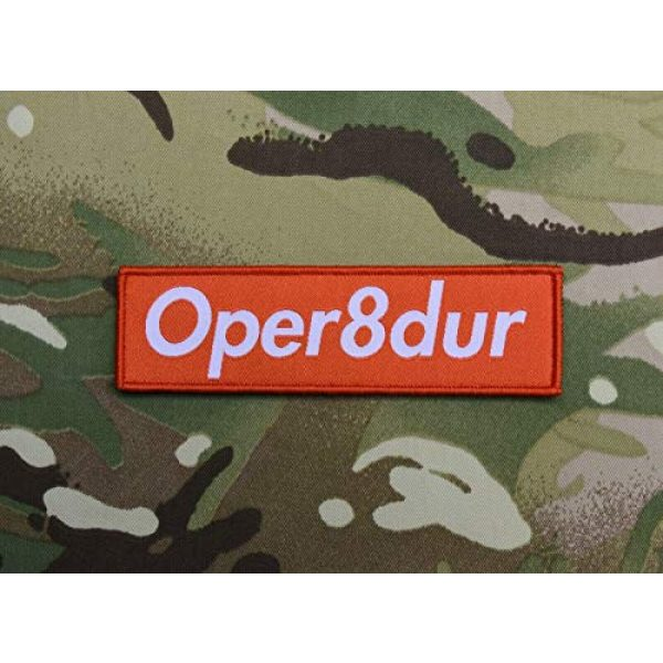 BritKitUSA Airsoft Morale Patch 1 Oper8dur Woven Morale Patch Supreme Parody Milsim Larperator LARP Operator Hook and Loop Backing