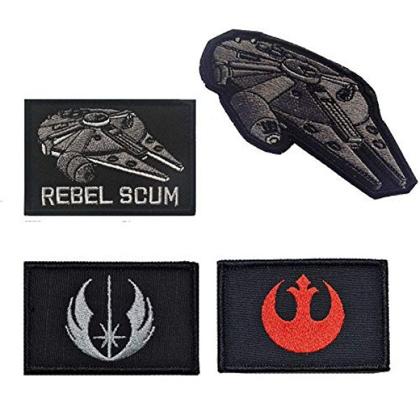 Zhikang68 Airsoft Morale Patch 2 Star War Embroidered Patches Rebel Scum and Jedi Order Emblem Morale Military Hook & Loop Tactical Patches (Red)