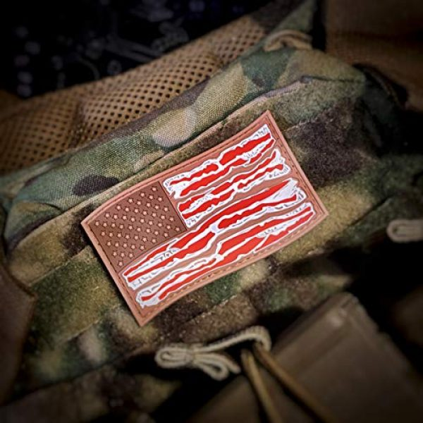 F-Bomb Morale Gear Airsoft Morale Patch 4 American Bacon Flag - PVC Morale Patch
