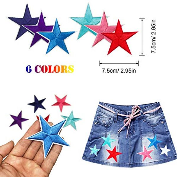 Woohome Airsoft Morale Patch 3 Woohome 31 PCS Assorted Star Iron on Patches Sew on Patches Embroidered Appliques for DIY Clothing Accessories