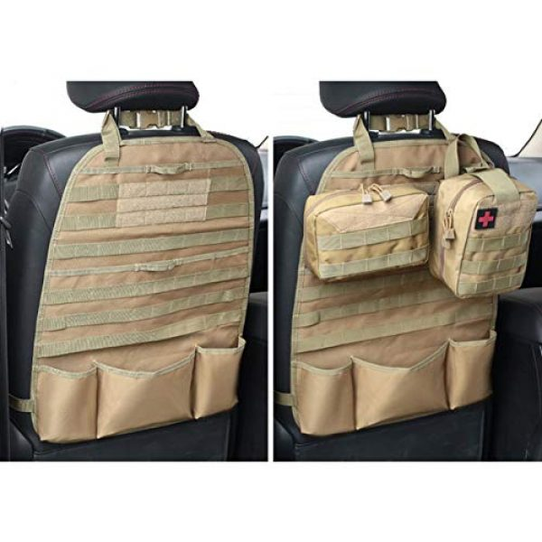 Autotipps Tactical Pouch 3 Autotipps MOLLE Tactical Car Seat Back Organizer Vehicle Panel Car Seat Cover Protector Universal Fit Hunting Bags with 3 Storage Pouch