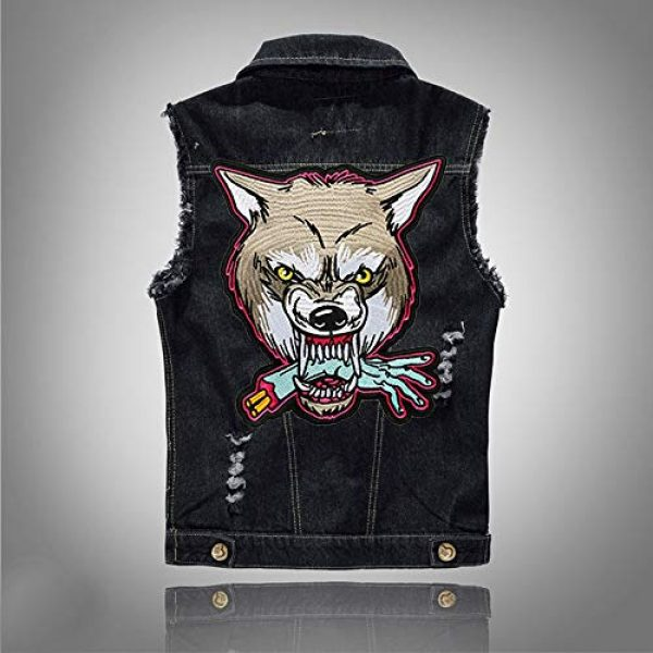 TOOBIT Airsoft Morale Patch 2 12.4'' Wolf Patch Large Motorcycle Backpack Patches Punk Rocker Rider Motorcycle Biker Back Patches Jacket Patches Applique Iron on/Sew on Embroidered Iron On Patch for Jackets | (Wolf)