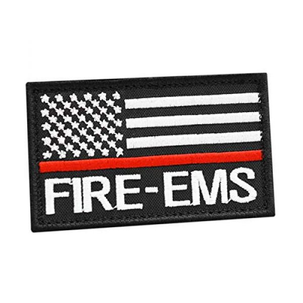 LEGEEON Airsoft Morale Patch 1 LEGEEON American EMS Fire Rescue Thin Red Line 2x3.25 US Flag Medic Firefighter Morale Hook&Loop Cap Patch