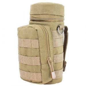 Ultimate Arms Gear Tactical Pouch 1 Ultimate Arms Gear H2O Water Bottle Hydration Tactical MOLLE Webbing Pouch with Hose Tube Pass-Thru, Front Accessory Pocket Compartment, D-Rings & Grommet Drain, Coyote Tan
