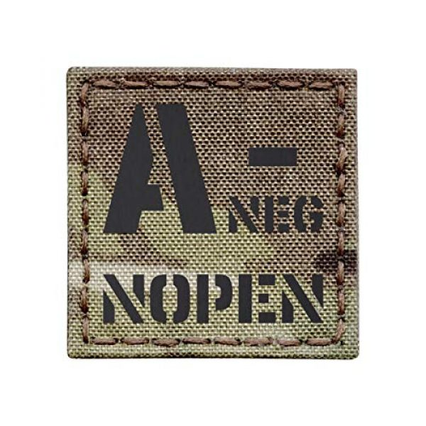 Tactical Freaky Airsoft Morale Patch 1 Multicam IR ANEG A- NOPEN No Penicillin Allergy Blood Type 2x2 Tactical Morale Touch Fastener Patch