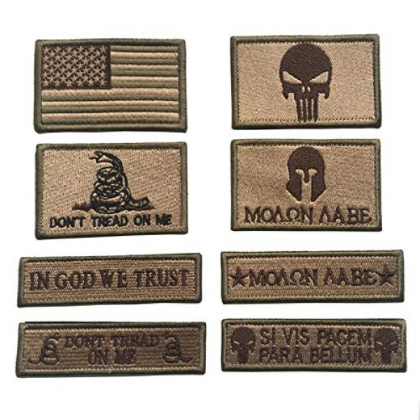 Xunqian Airsoft Morale Patch 1 Bundle 8 Pieces Tactical Military Morale Patch Set,USA Flag Patches and Morale Patch (Tan)