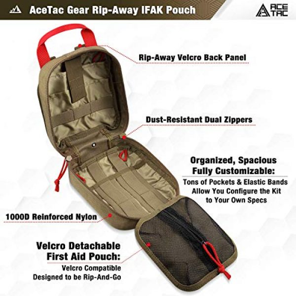 AceTac Gear Tactical Pouch 3 Ace Tac MOLLE Medical Pouch EMT 1000D Nylon First Aid Pouch Rip-Away IFAK Tactical Utility Pouch for Outdoor Activities Medical Supplies
