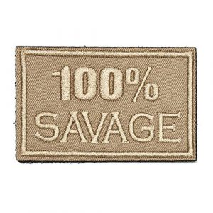 ZHDTW Airsoft Morale Patch 1 ZHDTW Tactical Morale Letter Patches 100% Savage Decorative Patches with Hook Loop for Bags, Backpacks, Clothing (DT048)