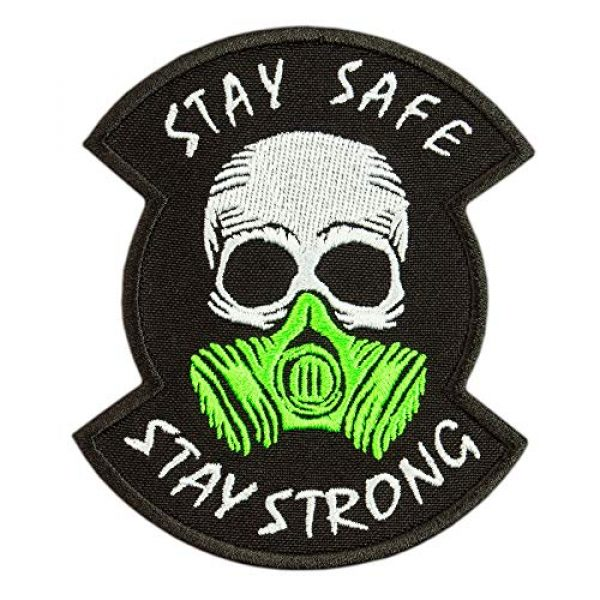 """Embrosoft Airsoft Morale Patch 1 Skull in a Gas mask Patch, Embroidered""""Stay Safe, Stay Strong"""" Morale Emblem, Size: 4.1 x 3.4 inches"""