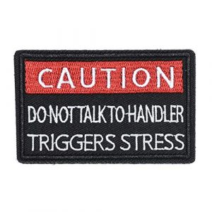 ZHDTW Airsoft Morale Patch 1 ZHDTW Tactical Morale Letter Patches Caution Do Not Talk to Handler Decorative Patches with Hook Loop for Bags, Backpacks, Clothing (DT051)