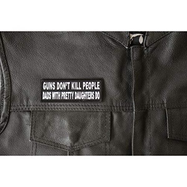Ivamis Trading Airsoft Morale Patch 2 Guns Don't Kill People Dad's with Pretty Daughters Do Patch - 4x1.5 inch. Embroidered Iron on Patch