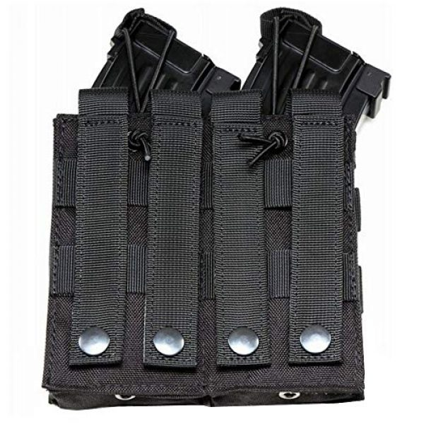 ATBP Tactical Pouch 4 ATBP Large Tactical Molle Drawstring Dump Pouch Rifles Magazine Utility Tool Belt Fanny Hip Holster Water Bottle Holder Waist Bag Pack (Black,Double for Rifle)
