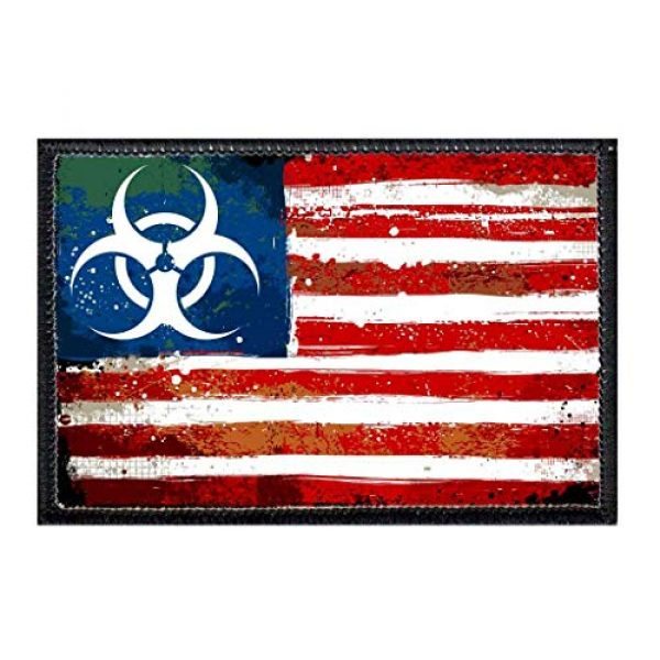 P PULLPATCH Airsoft Morale Patch 1 American Flag - Zombie Outbreak Toxic Morale Patch | Hook and Loop Attach for Hats, Jeans, Vest, Coat | 2x3 in | by Pull Patch