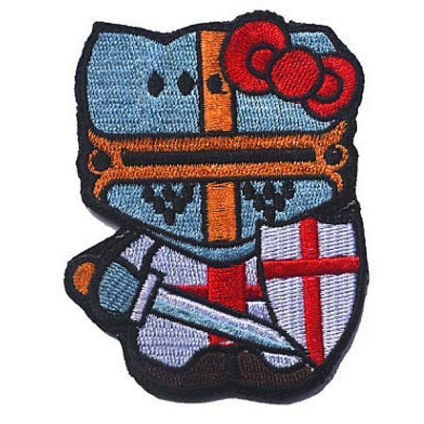 Embroidery Patch Airsoft Morale Patch 1 Hello Kitty Crusader Knight Military Hook Loop Tactics Morale Embroidered Patch
