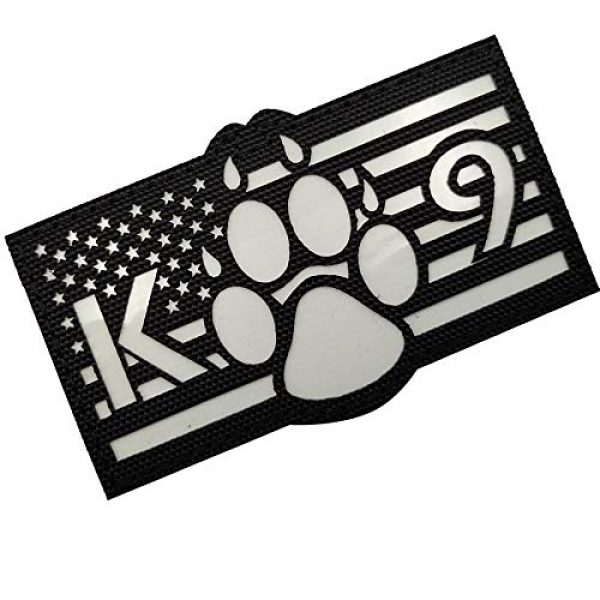 APBVIHL Airsoft Morale Patch 7 Glow in Dark USA Flag K9 Dog Handler Paw K-9 Tactical Morale Fastener Patch, Hook and Loop Backing for Harness Vest, Bundle 2 Pieces, 3.54 x 2.17 Inch