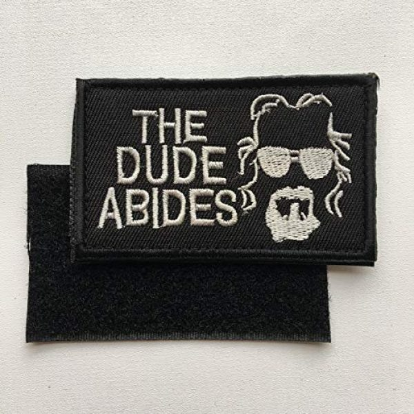 """Xunqian Airsoft Morale Patch 3 Big Lebowski The Dude Abides Pee Rug Patch. Perfect for Your Tactical Military Army Gear, Backpack, Operator Baseball Cap, Plate Carrier or Vest. 2x3"""" Hook Patch (A-Black)"""