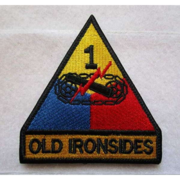 Embroidered Patch Airsoft Morale Patch 1 1st Armored Division Old Ironsides Tank Armor 3D Tactical Patch Military Embroidered Morale Tags Badge Embroidered Patch DIY Applique Shoulder Patch Embroidery Gift Patch