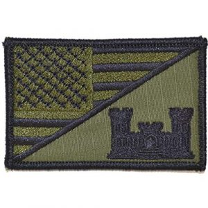 Tactical Gear Junkie Airsoft Morale Patch 1 Engineer Castle USA Flag - 2.25x3.5 Patch - Olive Drab