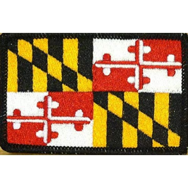 Fast Service Designs Airsoft Morale Patch 1 Maryland State Flag Patch with Hook & Loop MC Biker Tactical Morale Emblem #01 (Black Border)
