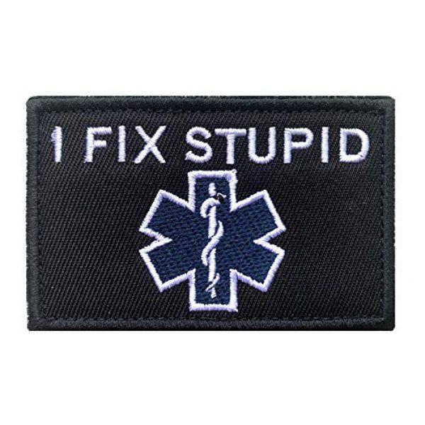 "Antrix Airsoft Morale Patch 1 Antrix I Fix Stupid EMT Medic Funny Military Emblem Badge Patch Hook & Loop Tactical Patch - 3.15""x2"""
